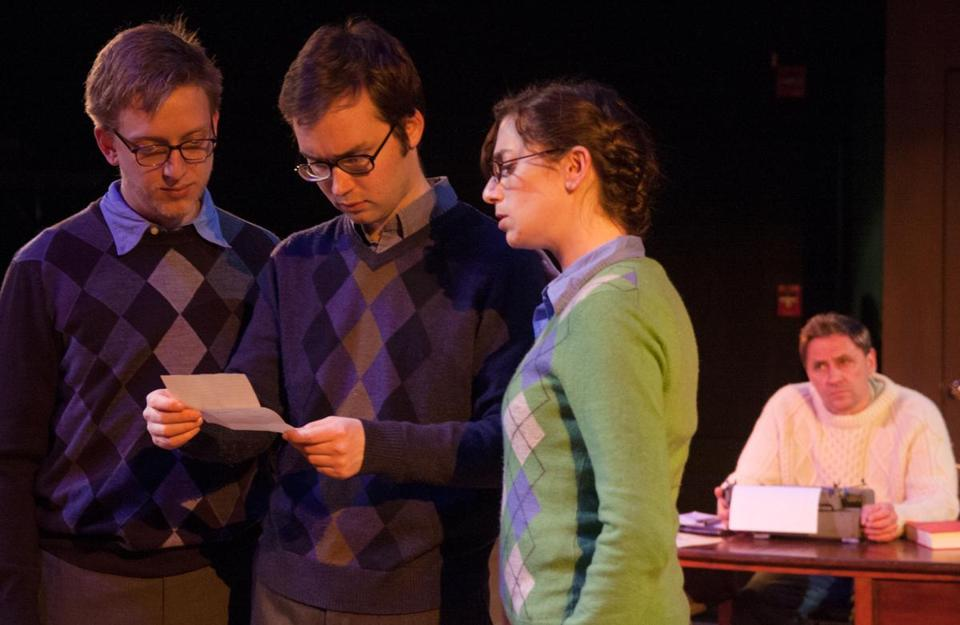 "Cameron Beaty Gosselin, David N. Rogers, Rebecca Lehrhoff (all playing Erik Larsen), and Cliff Blake in ""Enigma Variations."""