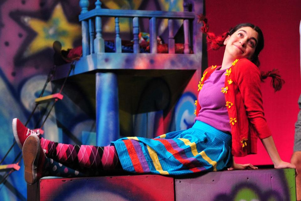 "Sirena Abalian has the title role in the Wheelock Family Theatre production of ""Pippi Longstocking."""