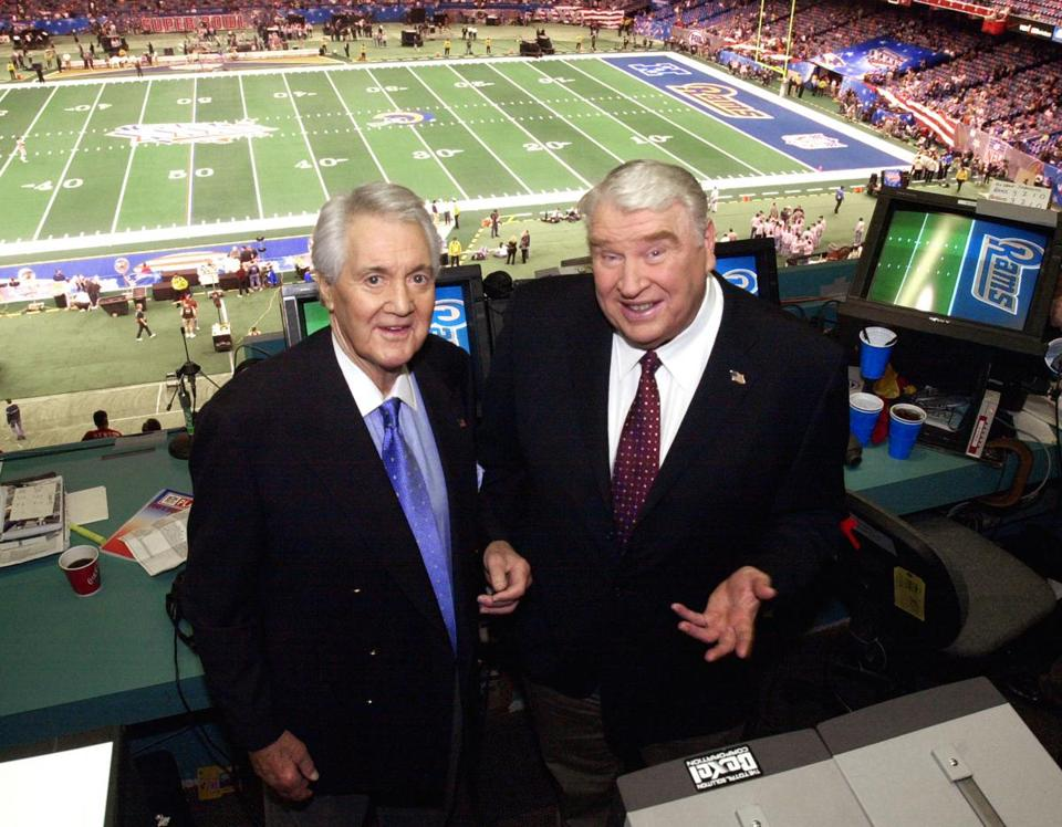 The understated Pat Summerall (left) was the perfect complement in the broadcast booth to the exuberant John Madden.