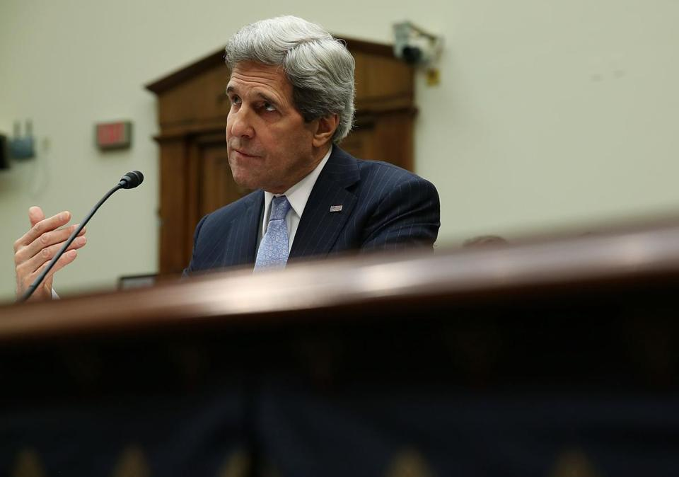 Secretary of State John Kerry testified during a House Foreign Affairs Committee hearing on Capitol Hill.