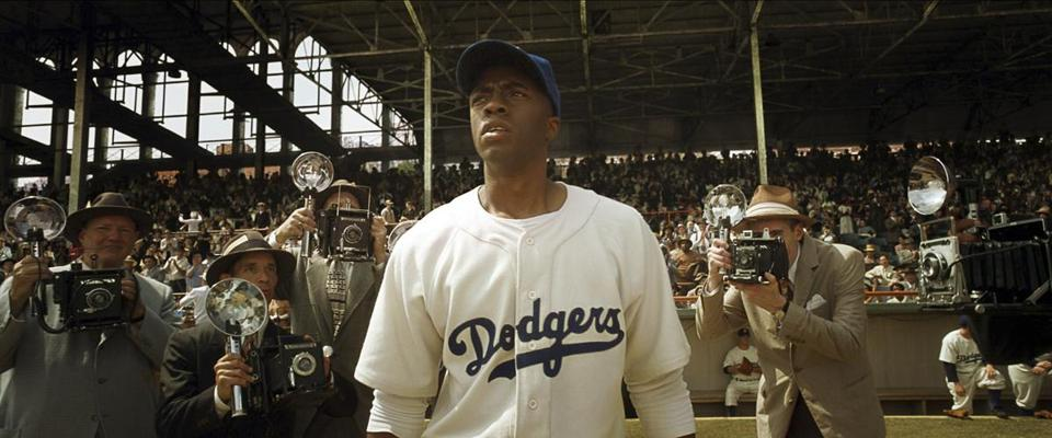 "Chadwick Boseman plays Jackie Robinson in ""42.''"