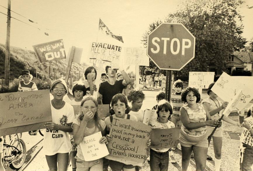 Children in Niagara Falls, N.Y., protest toxic contamination of Love Canal in the 1970s.