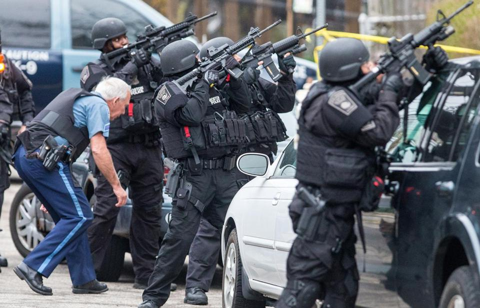 SWAT teams were at Nichols Avenue and Melendy Avenue in Watertown on Friday while searching for one of the marathon bombing suspects.