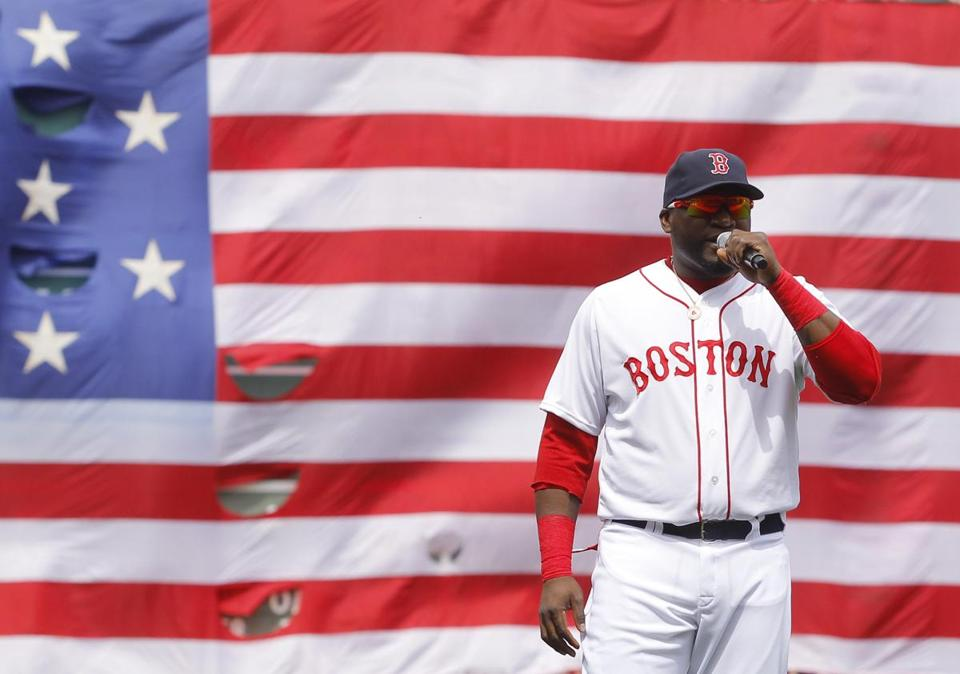 David Ortiz addressed fans during an April pregame ceremony honoring the victims of the Boston Marathon bombings.