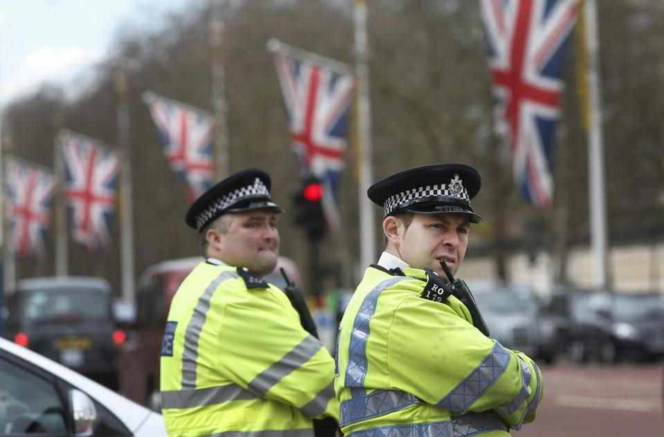 British police officers on Friday guarded The Mall in central London, where the city's Marathon will finish on Sunday.