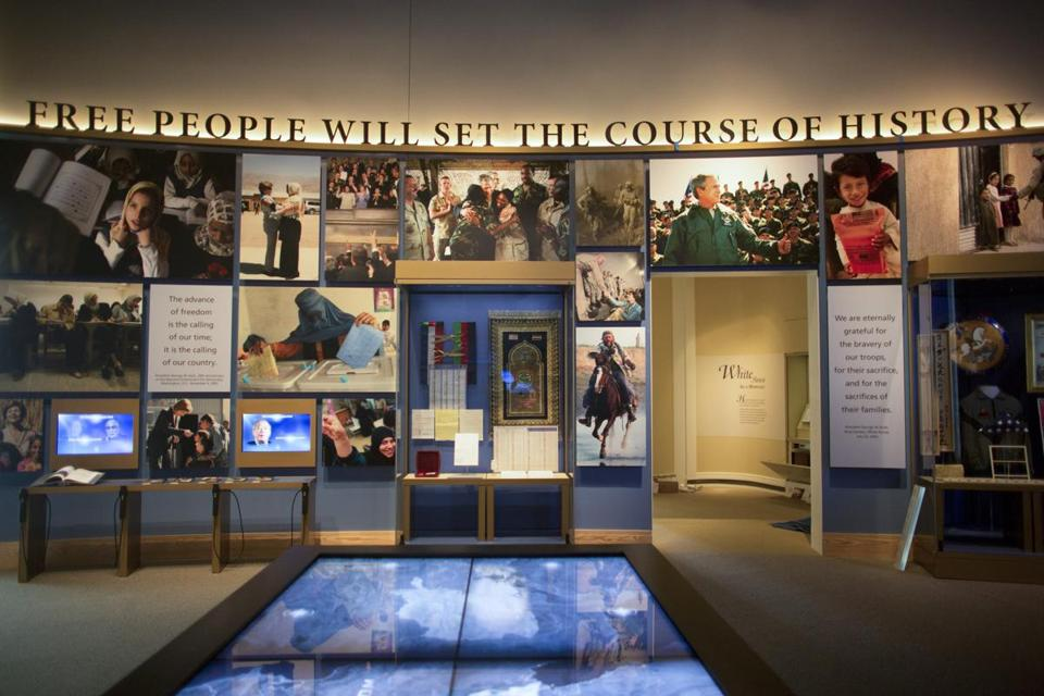 A view inside the George W. Bush Presidential Library and Museum, where President Obama and the four living former presidents will attend a dedication ceremony Thursday.