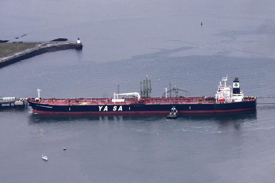 A tanker (above) prepared to offload crude oil recently in the deep-water port in South Portland, Maine.