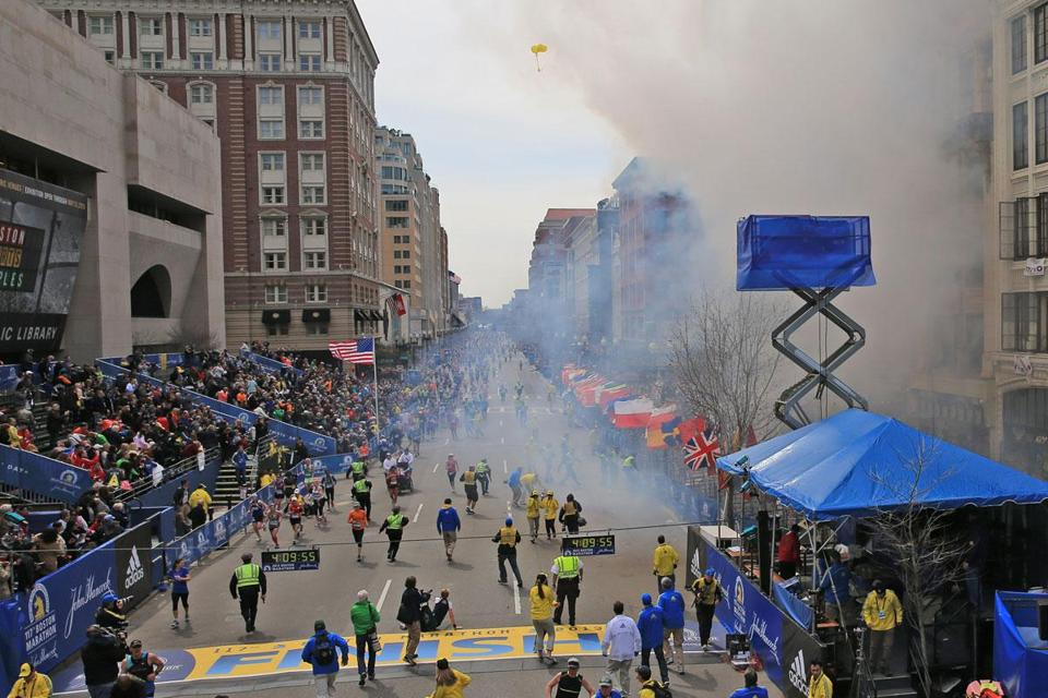 Ascer Barlatier's balloons drifted above the chaos after explosions rocked the Marathon finish line on Monday.