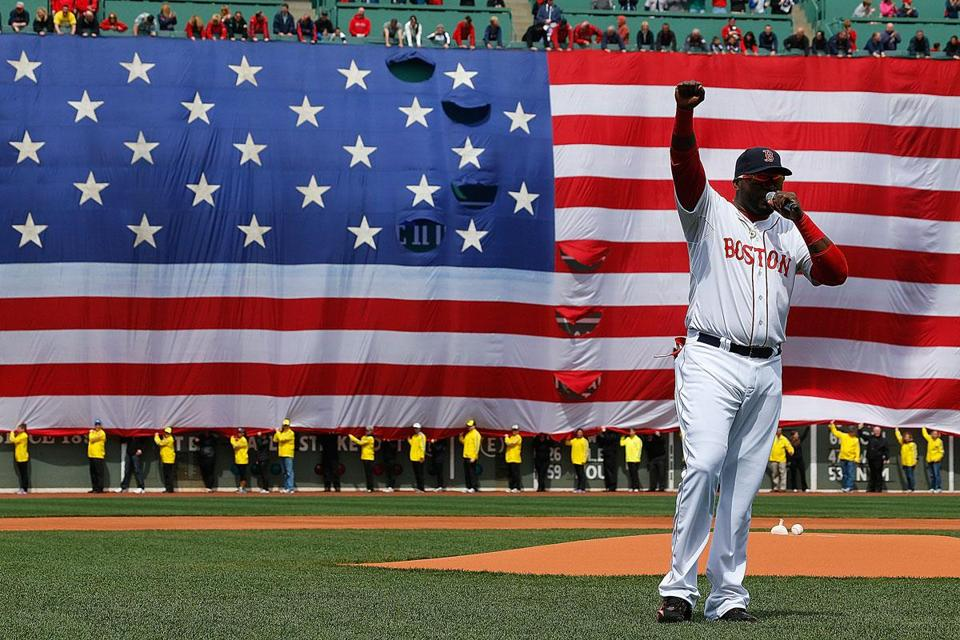 Before making his 2013 return, and with the flag behind him, David Ortiz exhorts fans to stay strong after the Marathon bombings.