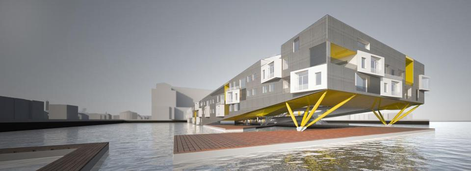 Approach to public dock at the end of Floatyard from Boston Harbor. Photo credit: Perkins + Will