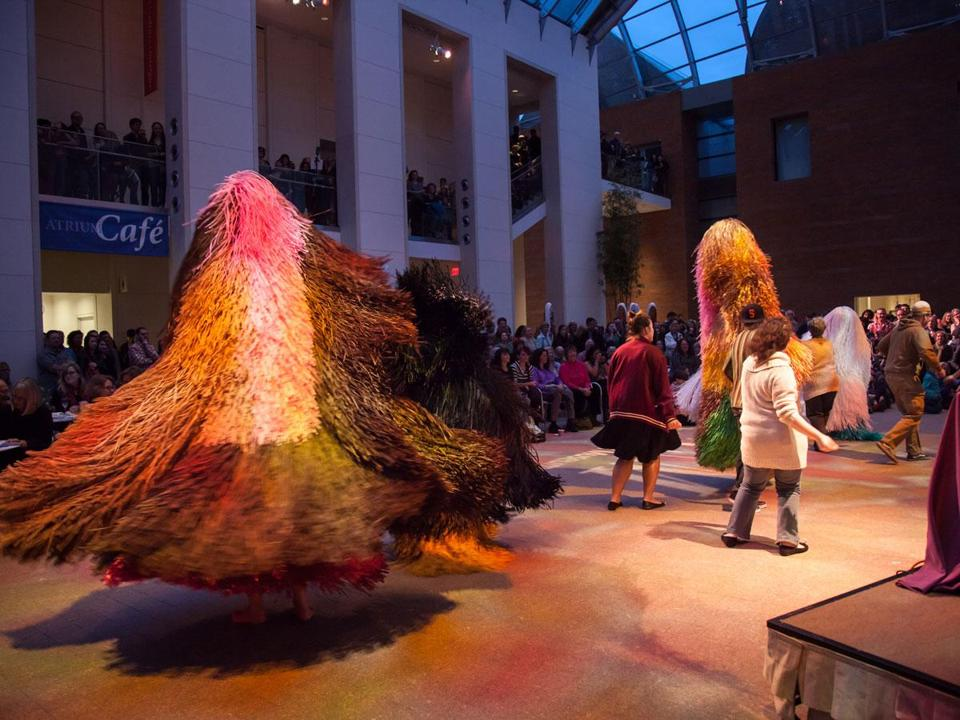 Nick Cave's Soundsuits (some made of brightly colored fibers of synthetic raffia) were worn by local performers Thursday in Peabody Essex Museum's Free Form Series. Audience members joined in the Cave collaboration with Kooky Scientist.