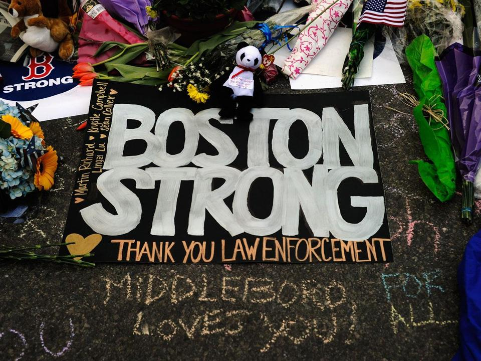 A makeshift memorial for victims near the site of the Boston Marathon bombings.