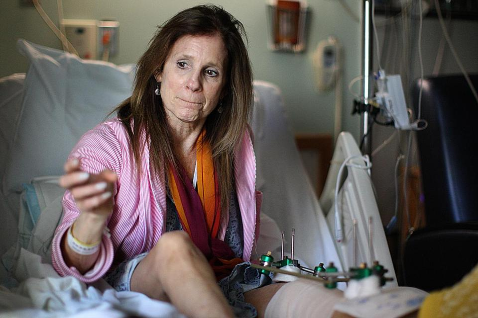 Beth Roche was seriously injured in the Marathon bombing but surgeons are working to repair her knee.