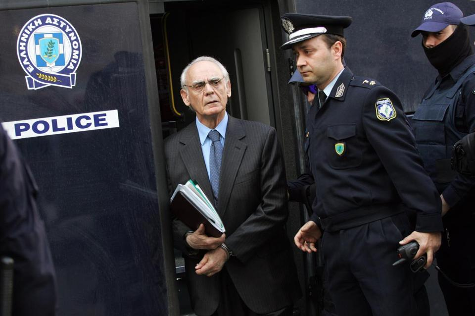 Akis Tsochatzopoulos, former defense minister, arrived for his trial on money laundering charges in Athens.