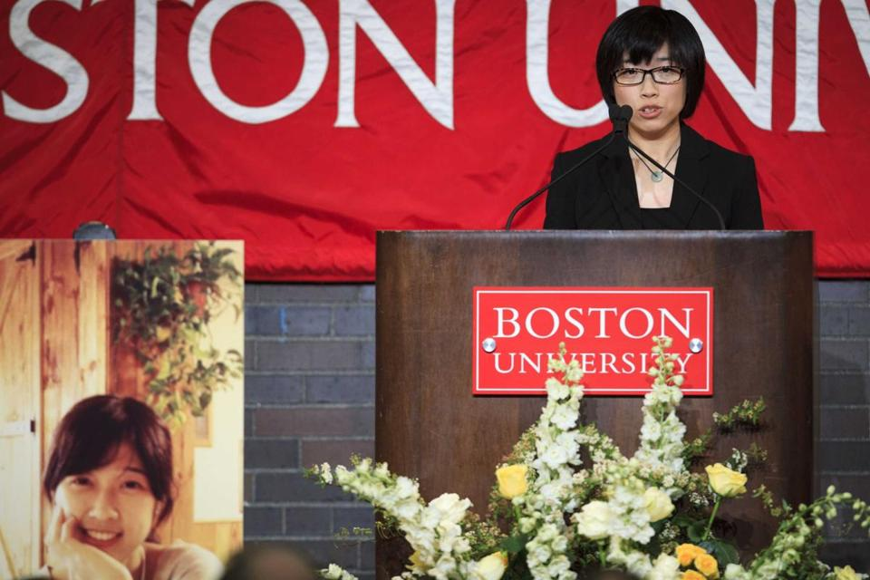 Zheng Minhui, a classmate of student Lu Lingzi, fondly remembered her at a memorial service at BU on Monday, one week after the Marathon bombings took her life.