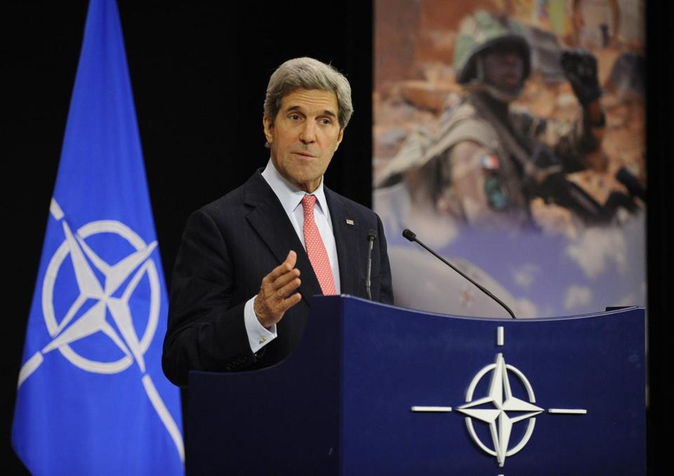 Secretary of State John Kerry urged NATO to be ready to respond if Syria used chemical weapons.