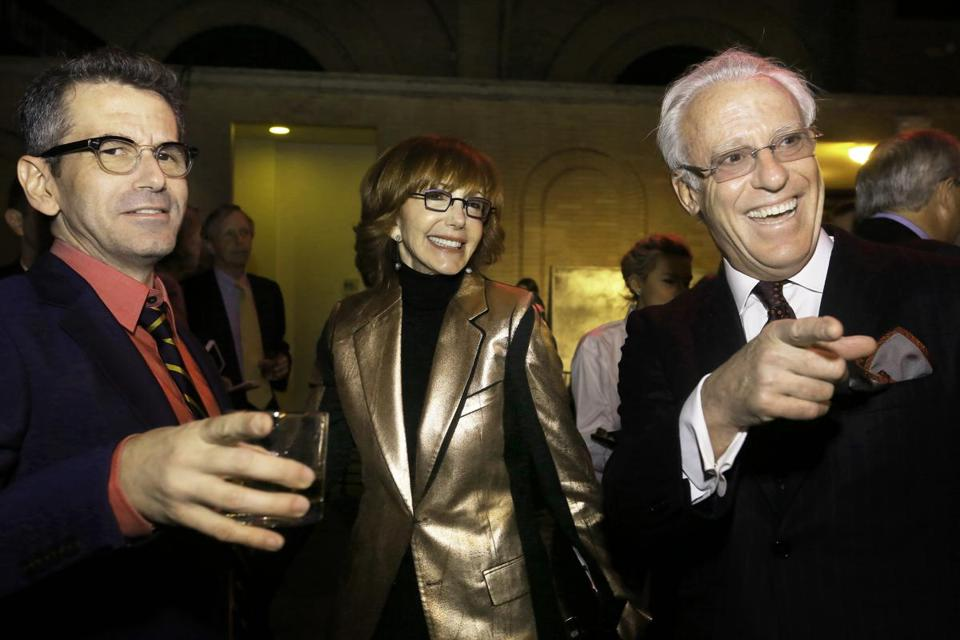 David Cromer (left) with Judith and Douglas Krupp at the Huntington Theatre Company benefit.