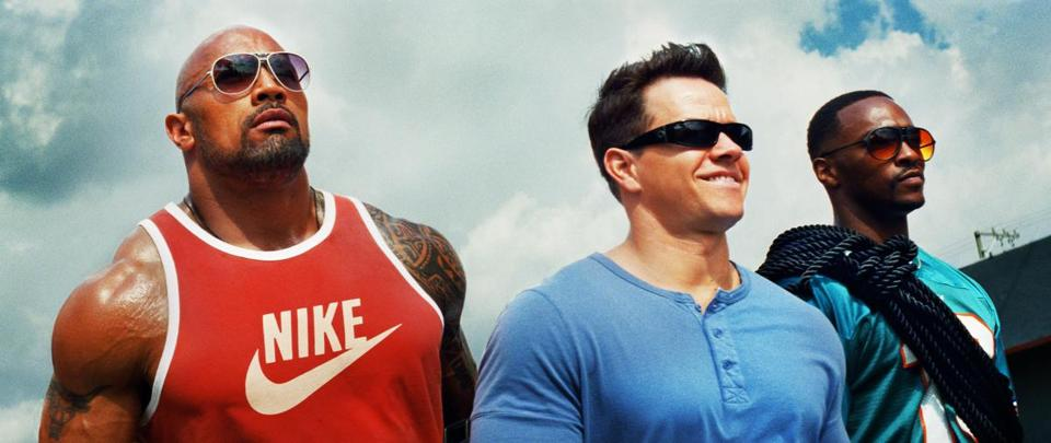 "From left: Dwayne Johnson, Mark Wahlberg, and Anthony Mackie in ""Pain & Gain.''"