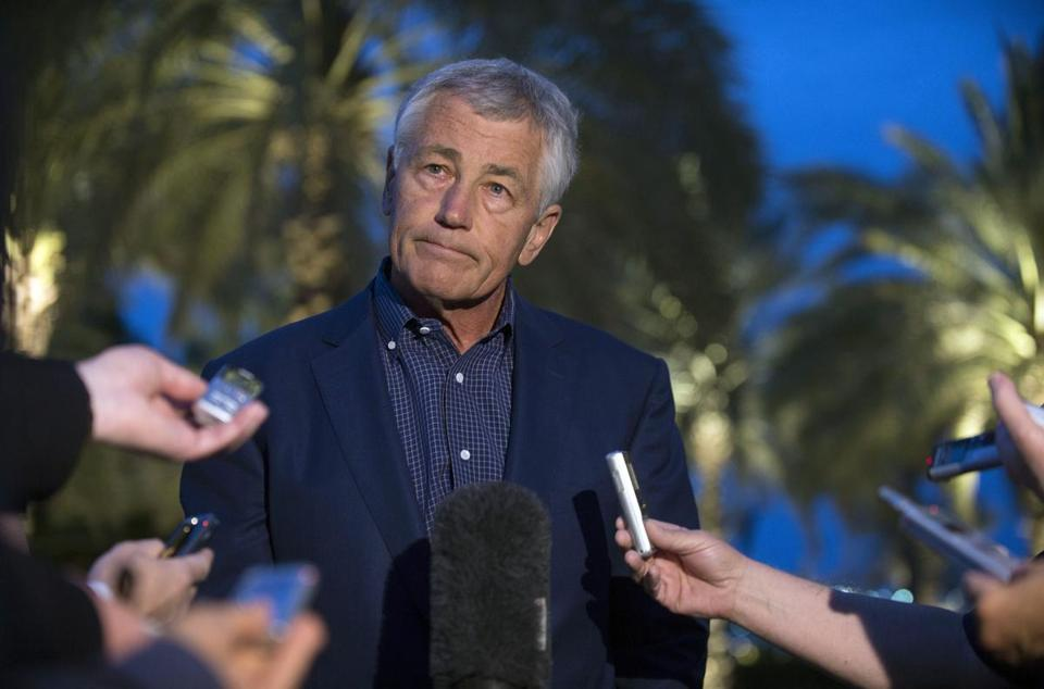 US Secretary of Defense Chuck Hagel spoke with reporters after reading a statement on chemical weapon use in Syria during a press conference in Abu Dhabi, United Arab Emirates.