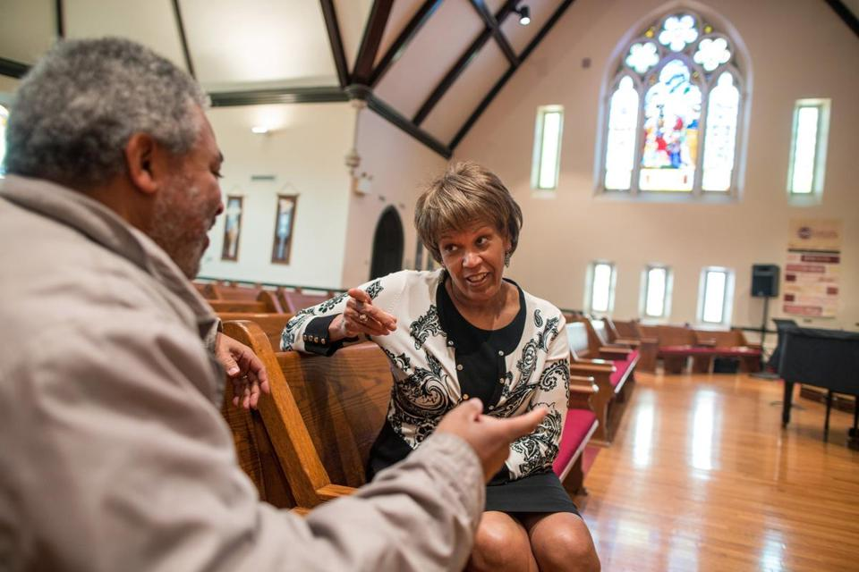 The Rev. Liz Walker (with Roxbury Presbyterian Church elder Bradley Turner) became transitional preacher at Roxbury Presbyterian Church in 2011, while church officials searched for a new, permanent pastor. Walker is expected to step into the permanent role after she completes the Presbyterian ordination process.