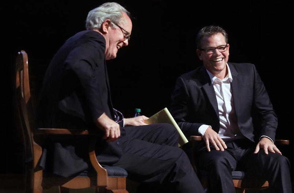Actors John Lithgow and Matt Damon at Sanders Theatre Thursday.
