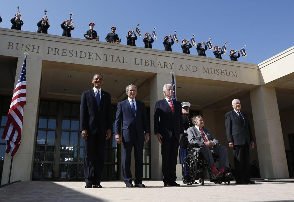 President Barack Obama (from left) stood alongside former presidents George W. Bush, Bill Clinton, George H.W. Bush, and Jimmy Carter during the dedication ceremony for the George W. Bush Presidential Center in Dallas.
