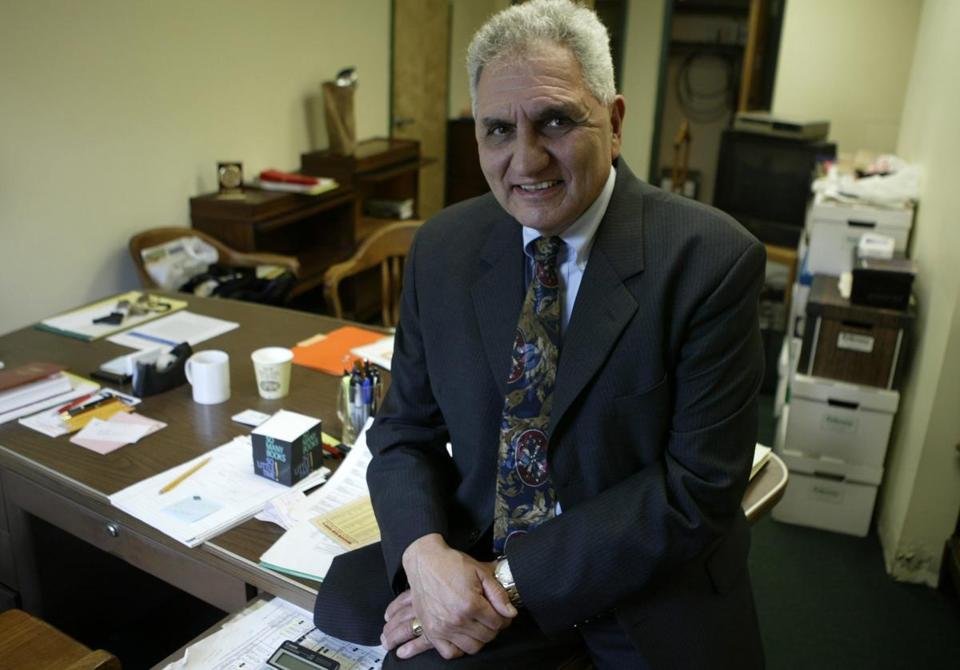 Albert F. Argenziano is leaving his job as Somerville School Superintendent, that he has held since 1993. He is inside his office where he was packing his items.