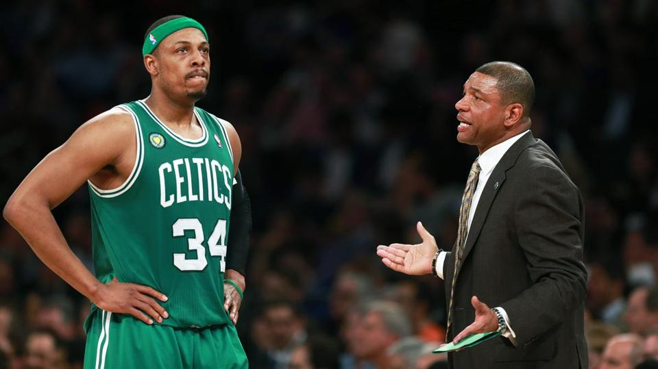 Celtics captain Paul Pierce and coach Doc Rivers had no answers for the Knicks late in Boston's Game 2 loss Tuesday at Madison Square Garden.