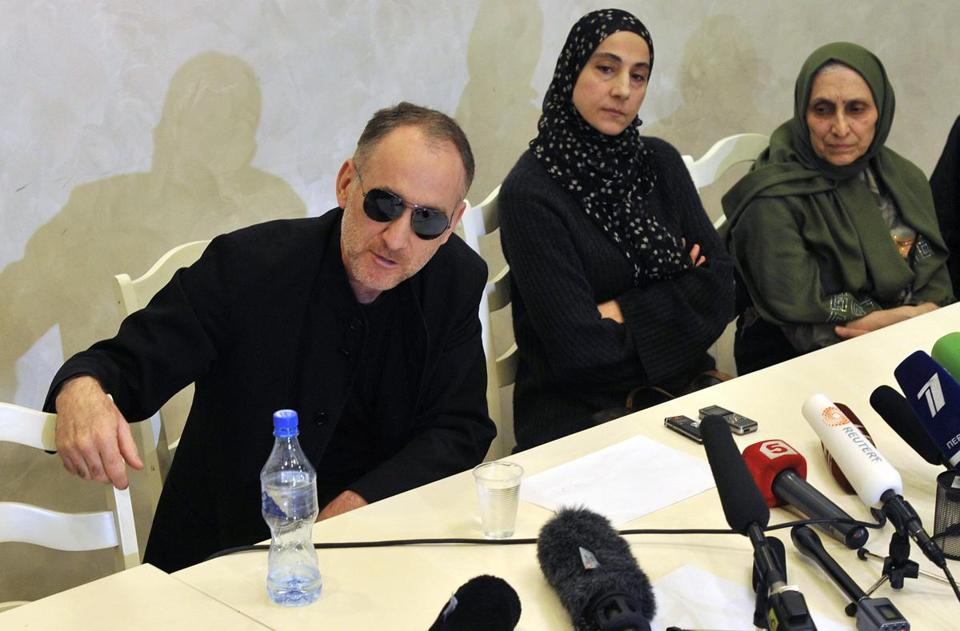 Anzor and Zubeidat Tsarnaeva, parents of suspected Marathon bombers Dzhokhar and Tamerlan Tsarnaev, spoke at a news conference in Dagestan, Russia.