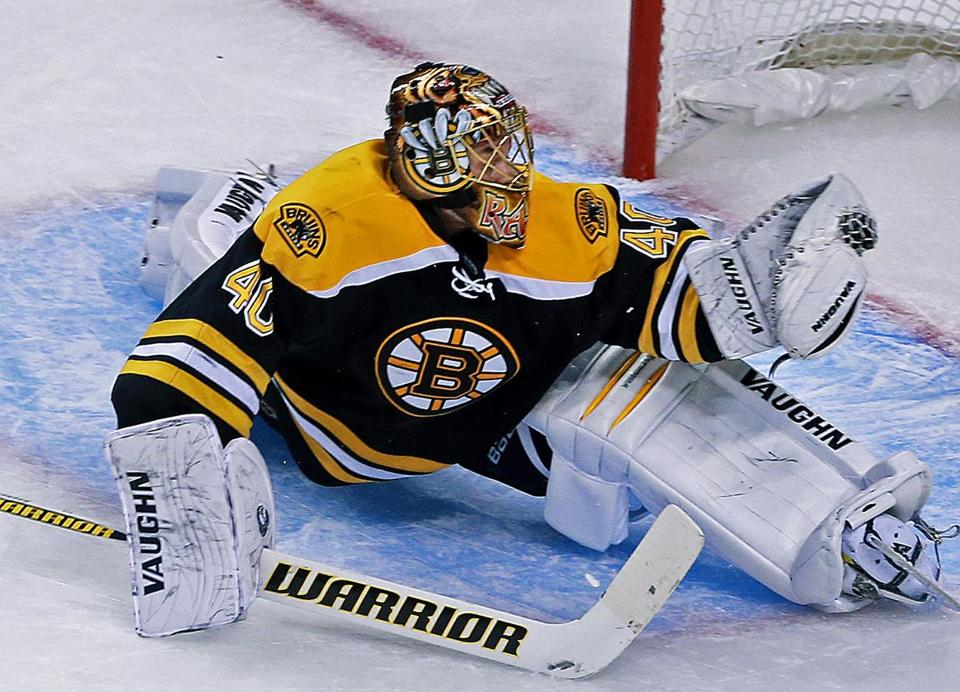 Tuukka Rask had 30 saves, including this one at 12:20 of the second period to stop Tampa Bay's Steven Stamkos.