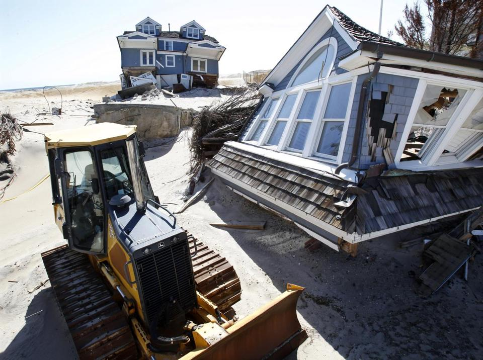 The destruction left from Sandy is still evident in many places such as this stretch of beach in Mantoloking, N.J.