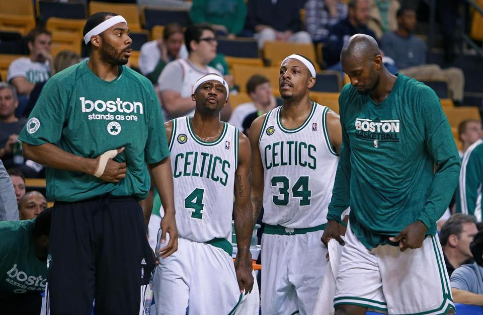 Celtics (from left) Chris Wilcox, Jason Terry, Paul Pierce, and Kevin Garnett headed off the court knowing their season could come to an end on Sunday.