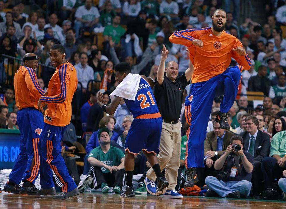 Tyson Chandler led the cheers from the bench as the Knicks pulled away in the second half to move within a win of a sweep of the Celtics.