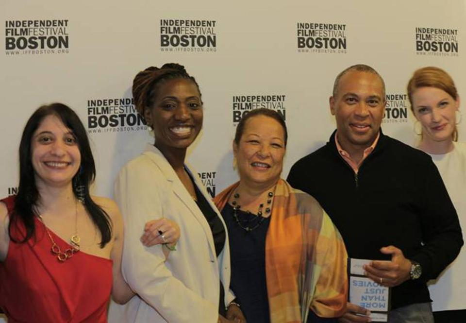 From left: Danielle DiGiacomo, Janet Mino, Diane and Governor Deval Patrick, and Samantha Buck at Somerville Theatre.