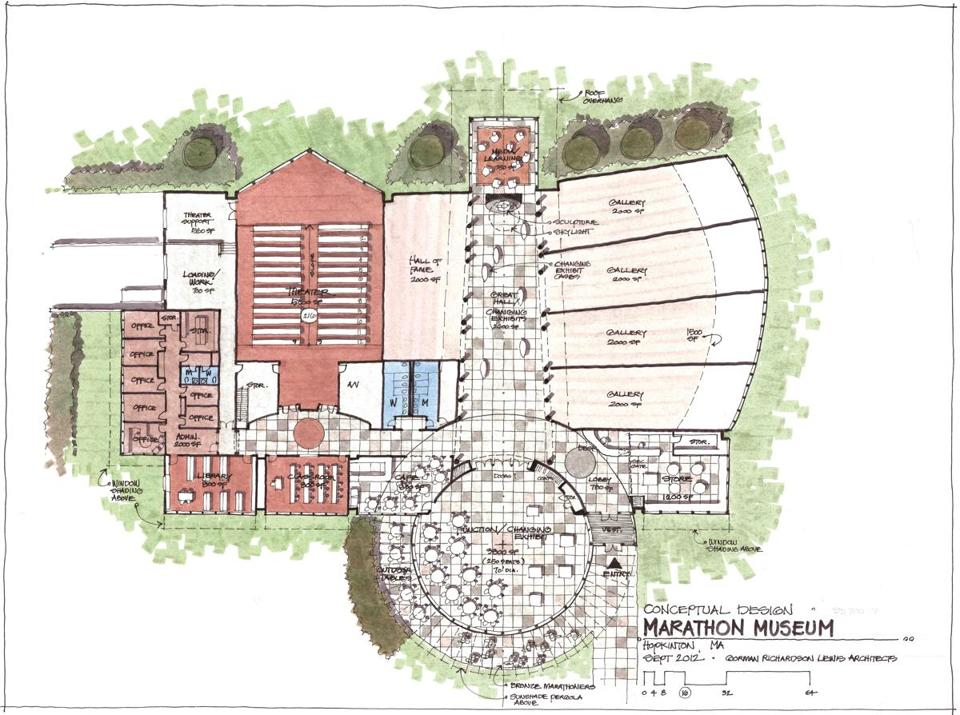 Rendering of the proposed International Marathon Center planned for a site at Legacy Farms in Hopkinton.