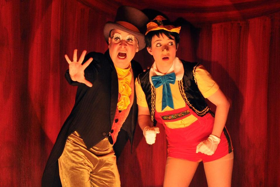 Brooks Braselman (left) as Jiminy Cricket and Grace Carney as Pornocchio in Ryan Landry and the Gold Dust Orphan's satirical take on the classic children's tale.