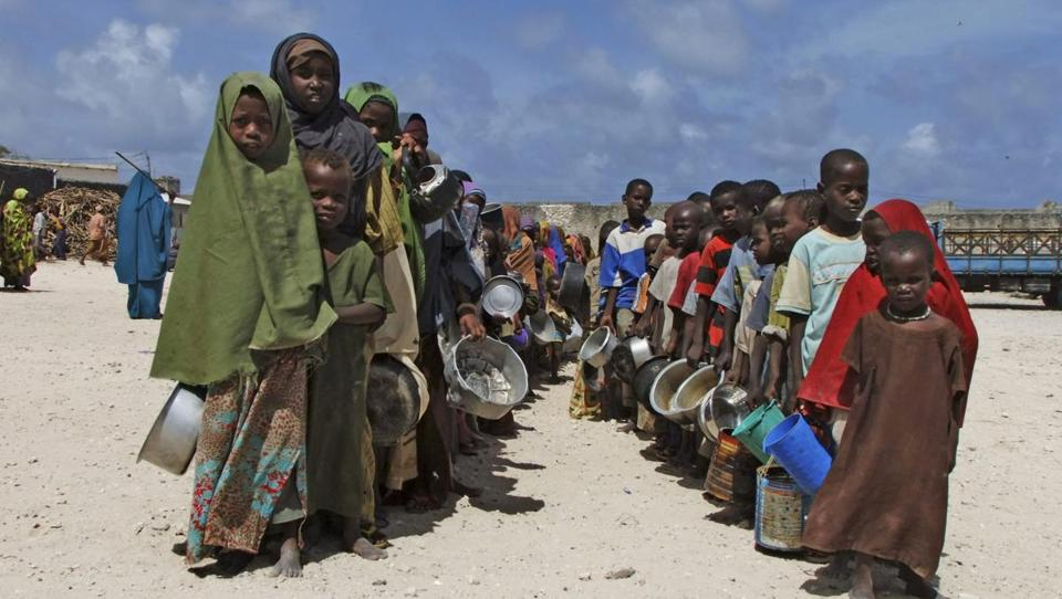 Somali children lined up for food in Mogadishu in August 2011. Half of the victims were 5 and under.