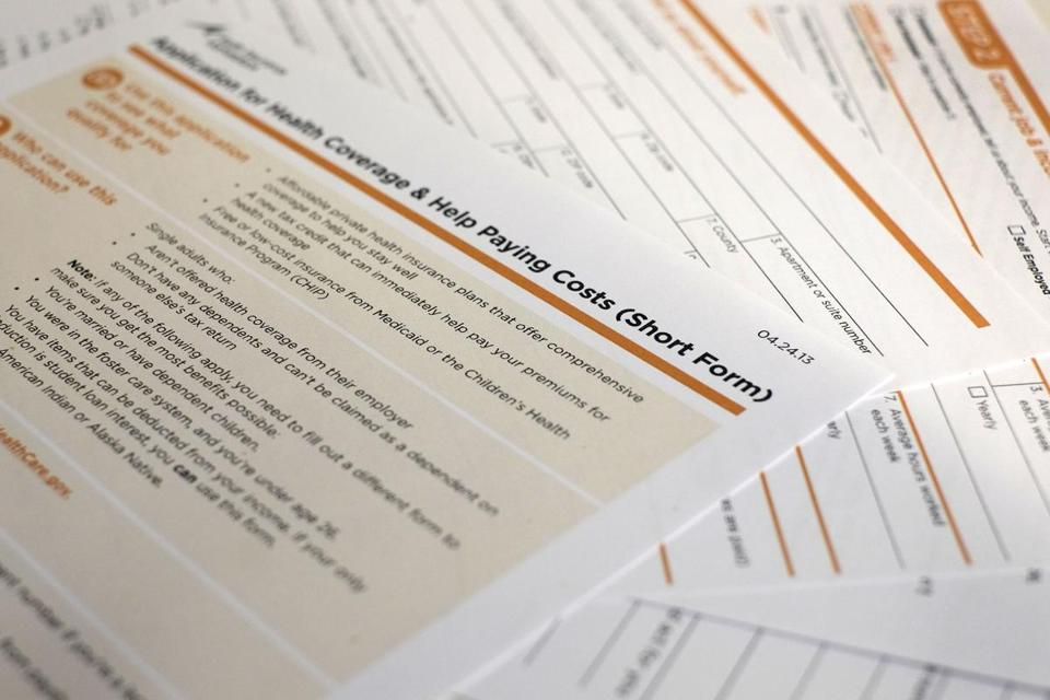 The short-form application for the new federal Affordable Care Act. The first draft was criticized for being as mind-numbing as an income tax form.
