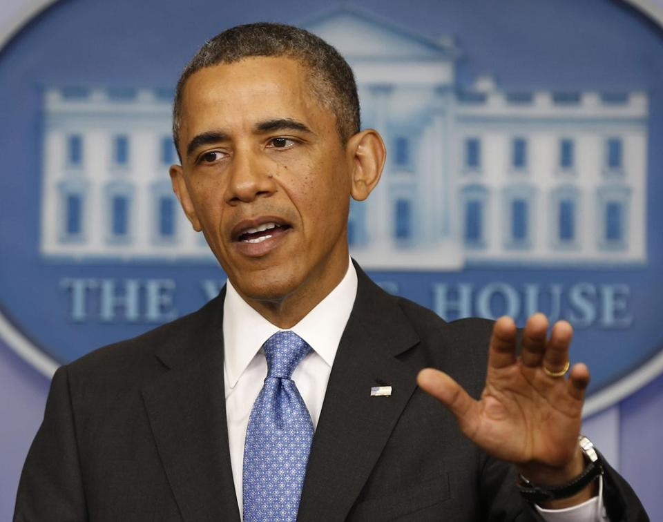 President Obama talked during a press conference at the White House on Tuesday.