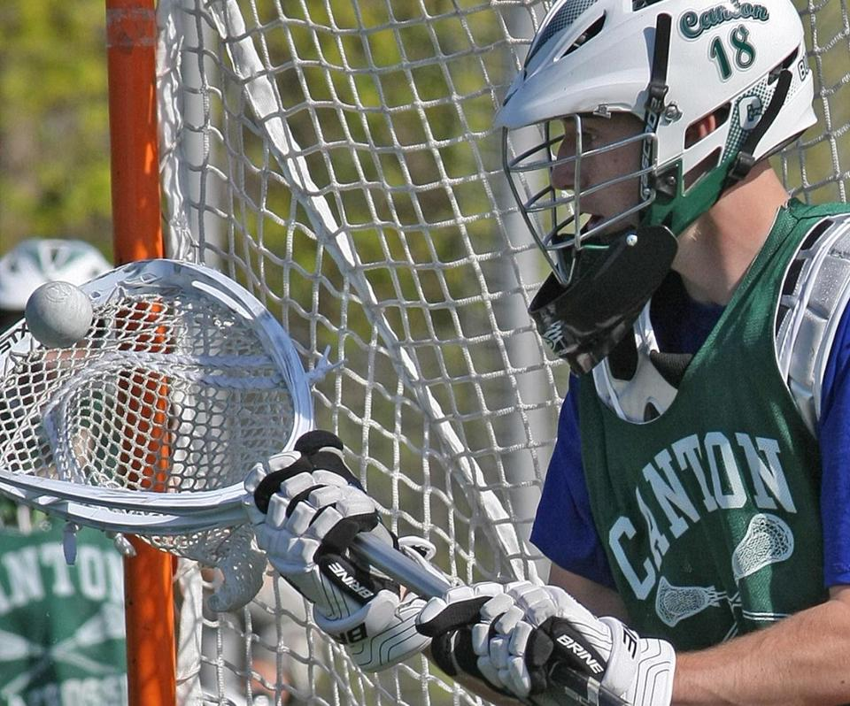 Ben Lodge, above, had no experience in net before taking over this year, and Canton High's boys' lacrosse team, 7-11 last year, is off to an 8-0 start. Left, senior captain JC Marcone has helped pace the offense with 20 goals and 11 assists.