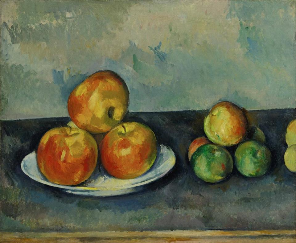 """Les Pommes,"" Paul Cezanne's 1889-90 still life of apples, is expected to bring $25,000-$35,000 at Sotheby's Impressionist & Modern Art sale. Amedeo Modigliani's ""L'Amazone"" (above), which depicts Baroness Marguerite de Hasse de Villers in her riding habit, will be offered with a $20,000-$30,000 estimate. ""Madame Matisse au kimomo"" (left), Andre Derain's painting of the wife of fellow artist Henri Matisse, is expected to bring"