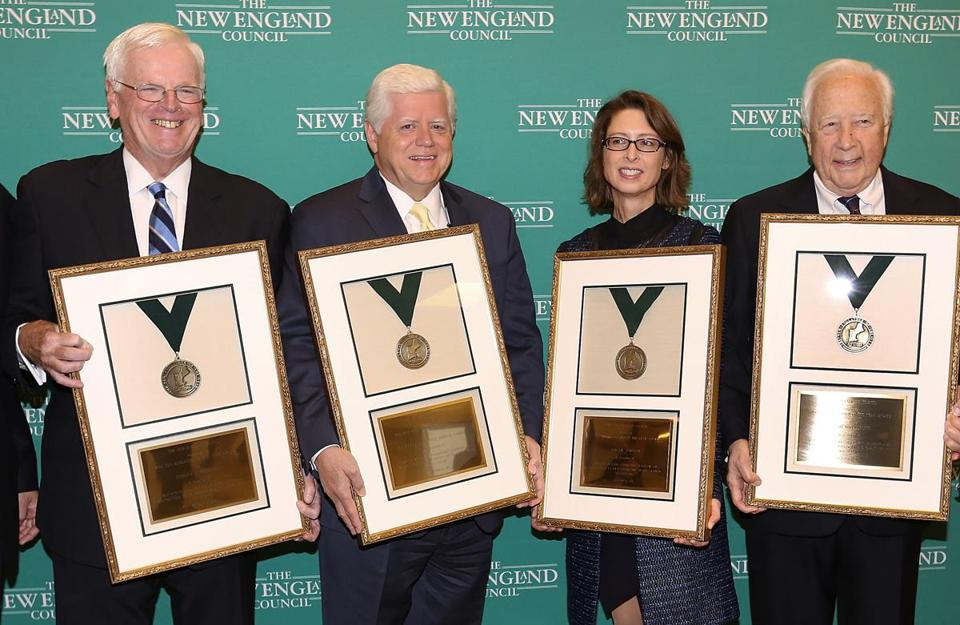 From left to right: Robert Sheridan, President/CEO Savings Bank Life Insurance, Congressman John Larson of Conn, Abigail Johnson, President Fidelity Financial Services and Author David McCullough at the 2012 New England Council Annual Dinner held at the World Trade Center.