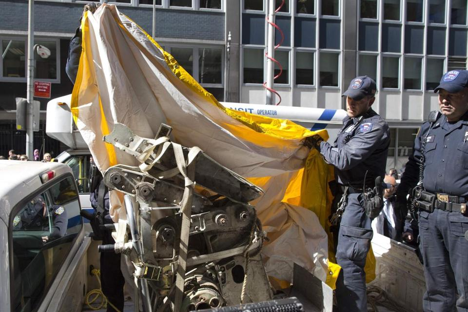 New York police removed a piece of a plane believed to be connected to the 9/11 attacks.