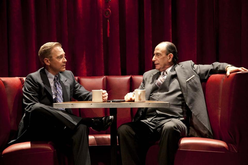 "David Adkins (left) and Will LeBow in the Merrimack Repertory Theatre production of David Mamet's ""Glengarry Glen Ross.''"