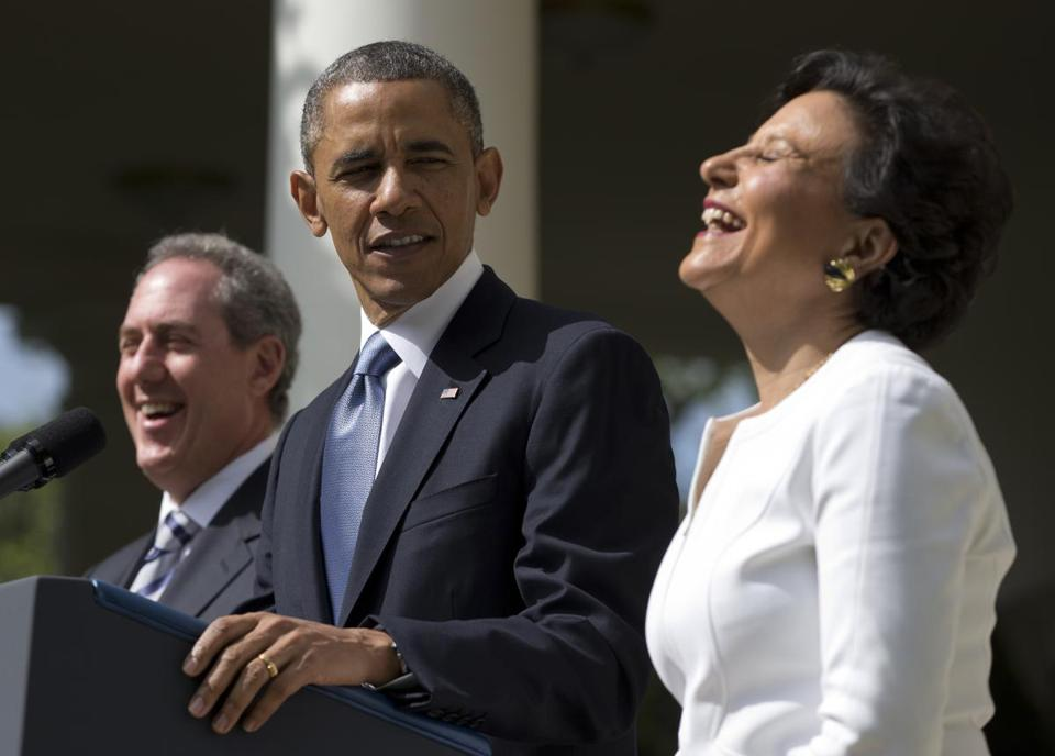 President Obama shared a laugh with longtime fund-raiser and nominee for commerce secretary Penny Pritzker. Michael Froman was nominated as US Trade Representative.