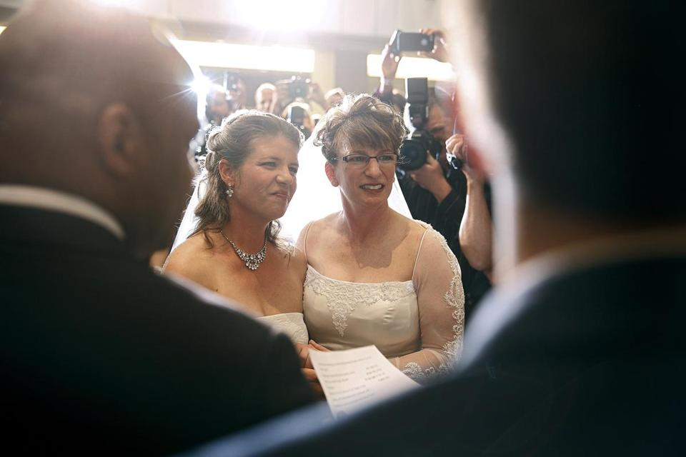 Anna (left) and Fran Simon, both of Denver, were the first same-sex couple to be issued a civil union license.