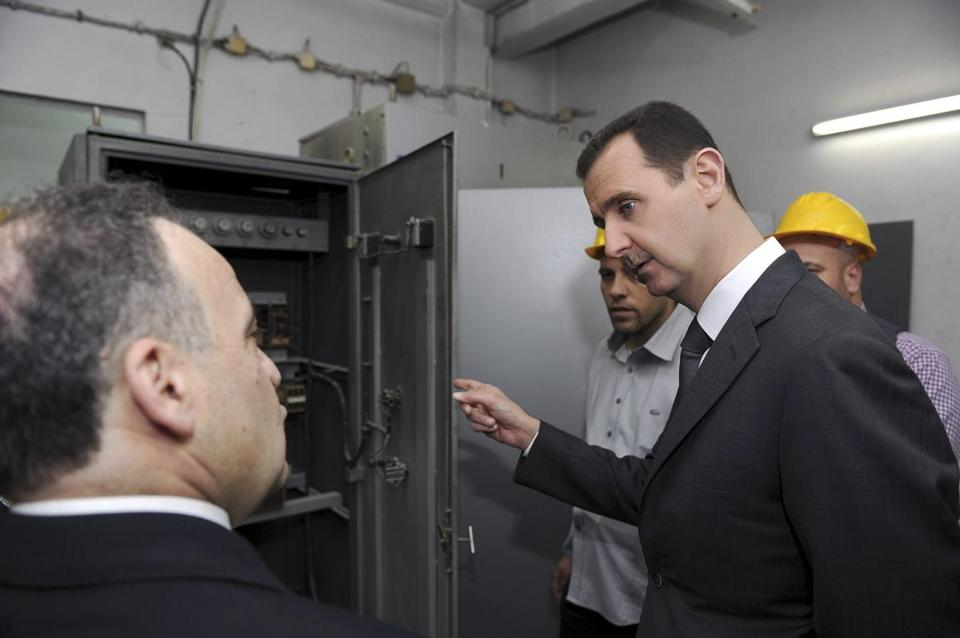 President Bashar Assad of Syria made a rare public appearance on May Day, visiting a Damascus power station.