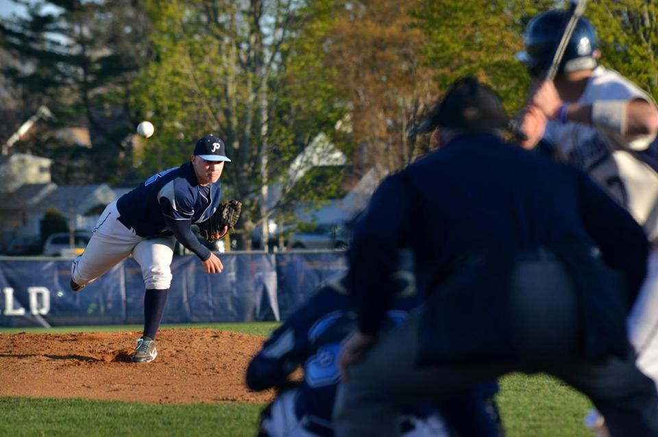 Peabody's lead pitcher, Patrick Ruotolo, shown against Danvers, has more help this year.
