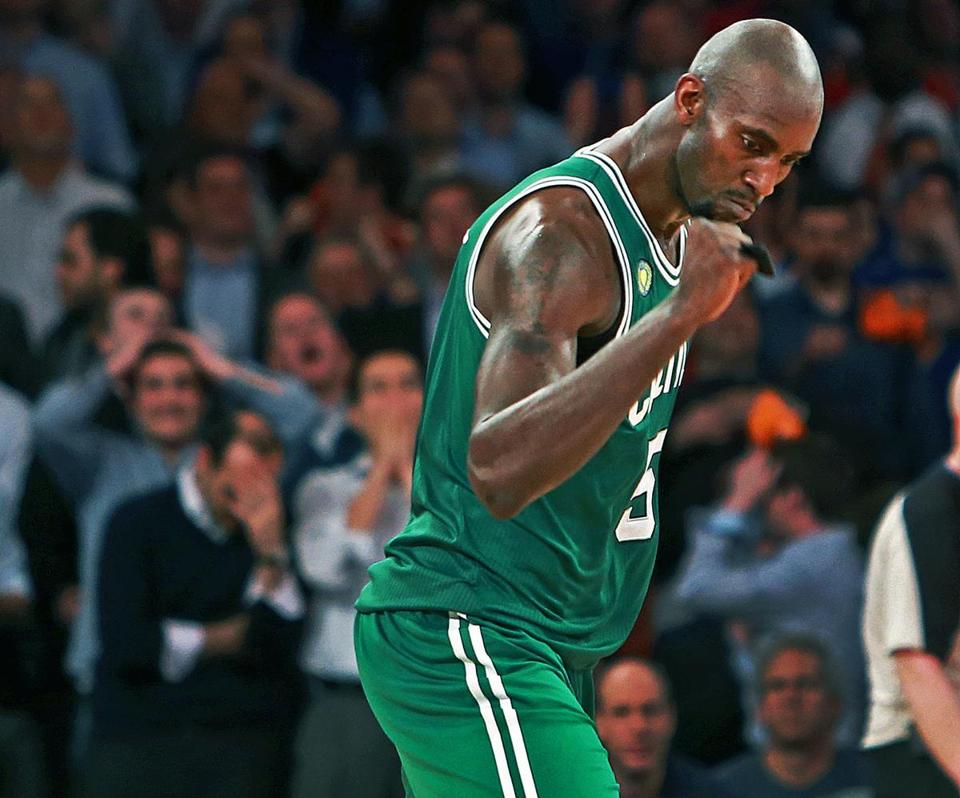 Kevin Garnett had 16 points and 18 rebounds in the win over the Knicks.