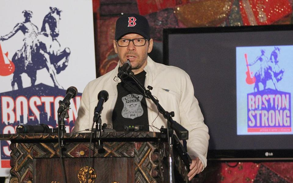 Donnie Wahlberg at the announcement of the concert to benefit victims of the Marathon bombings.